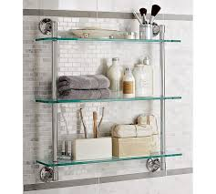 Bathroom Chrome Shelves Mercer Glass Shelf Pottery Barn