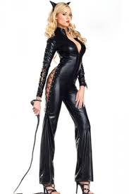 Queen Halloween Costume Black Womens Faux Leather Jumpsuit Cat Halloween Costume