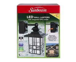 outdoor light with gfci outlet sunbeam large mission led wall lantern with gfci color box l