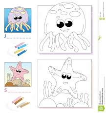 coloring book page jellyfish u0026 starfish stock images image
