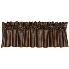 Rustic Curtains And Valances Amazon Com Hiend Accents Rustic Faux Leather Western Valance