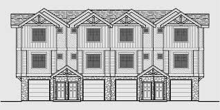 three plex floor plans house front color elevation view for f 540 townhouse plans 4 plex