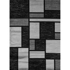 Black Grey And White Area Rugs Contemporary Modern Boxes Design Gray 5 Ft 3 In X 7 Ft 3 In
