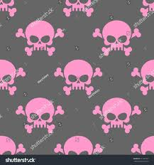 halloween pink background pink skull on grey background seamless stock vector 311291567