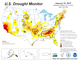 california drought map january 2016 u s drought monitor update for january 10 2017 national