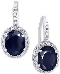 ear rings sapphire 6 ct t w and diamond accent drop earrings in sterling
