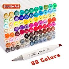 amazon com shuttle art 88 colors dual tip art markers permanent
