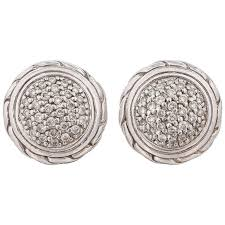 silver stud earrings hardy classic chain pave diamond 18k sterling silver