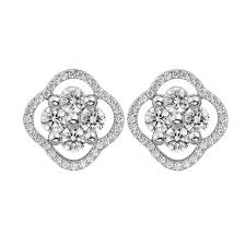 cluster stud earrings mazal diamond 2 77ct diamond flower cluster stud earrings