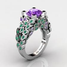 emerald amethyst rings images Art masters nature inspired 14k white gold 3 0 ct amethyst emerald jpg