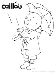 Print Color Caillou Rainy Day Coloring Sheet Activity Rainy Day Coloring Pages