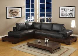 Sofa Set L Shape Wooden L Shape Black Leather Sofa With Chaise Lounge And Rectangular