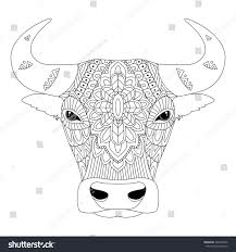 t shirt coloring page vector illustration bull zentangle ethnic style stock vector