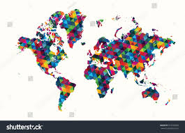 Decorative World Map Decorative World Map Abstract Geometric Pattern Stock Vector