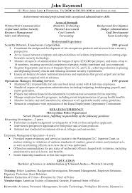 Sample Cfo Resume by Security Resume Sample Resume Example