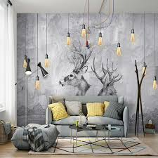 online get cheap abstract wall murals aliexpress com alibaba group european 3d abstract grey elk animal photo wallpaper wall murals hd wall paper rolls home wall