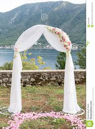 wedding arches decorated with flowers wedding arch decorated with flowers outdoors stock photo image
