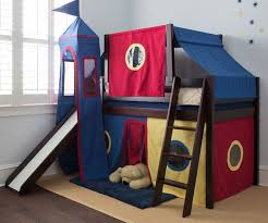 Bunk Bed With Slide And Tent Jackpot Royal Flush Low Loft Bed Cherry Finish With Tower Top