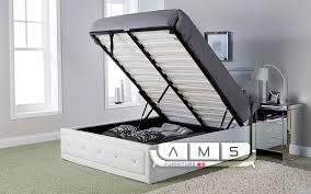 stylish diamond studded 4ft6 double leather storage ottoman bed
