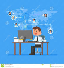 remote team working concept vector work from home illustration in