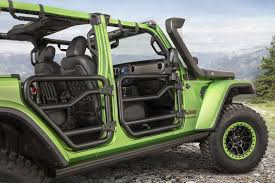 customized 4 door jeep wranglers mopar customized 2018 jeep wrangler pair steals the show in los