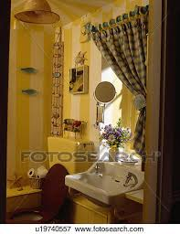 Striped Wallpaper Bathroom Picture Of Green Yellow Checked Curtain Above White Basin In Small