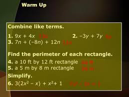 warm up combine like terms 1 9x 4x 2 u20133y 7y 3 7n u20138n