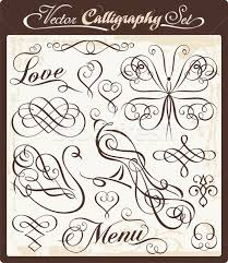 vector set with exquisite calligraphic and ornamental designs