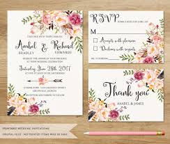 wedding invitations floral floral wedding invitation printable wedding invitation