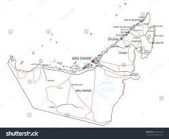 Emirates Route Map by United Arab Emirates Road Highway Map Stock Vector 342292244