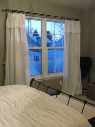 cool white bedroom curtains for double white windows and nice grey