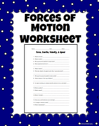 force inertia velocity and speed science worksheet carolina