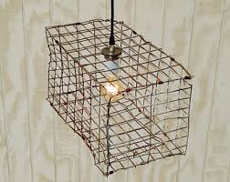 Unique Handmade Lamps Cage Light Fixture See Larger Image Vintage Industrial Metal