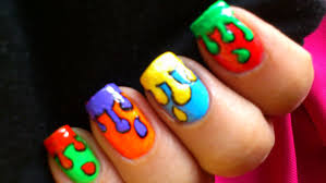 dripping paint colorful nail art for kids youtube