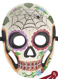 Skeleton Mask Purple Day Of The Dead Skeleton Mask With Flowers And Spiders