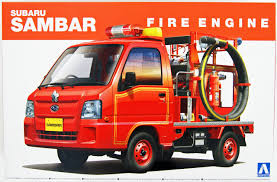 subaru sambar truck aoshima 14172 subaru sambar fire engine 1 24 scale kit plaza japan
