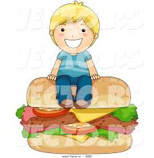 child sitting clipart vector of happy cartoon boy sitting on big cheeseburger by bnp
