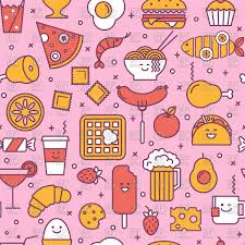 seamless pattern food seamless pink pattern with restaurant and fast food icon royalty