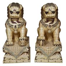foo dog sculpture pair of palace sized bone foo dogs sculptures for sale at 1stdibs
