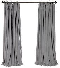 100 Curtains Signature Silver Gray Velvet Blackout Curtain Single Panel
