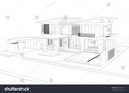 wireframe perspective house 3d render building stock illustration