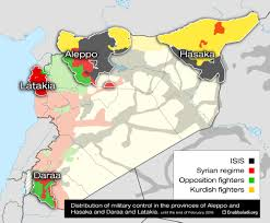 Syria Map Control by Four Provinces Affected By Russian Intervention In Syria