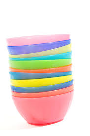 stack of colorful plastic bowls stock photo image 11923458