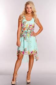 mint floral print high low hem dress clubwear party