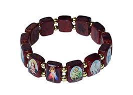 saints bracelet elasticated wooden saints bracelet by catholica shop