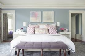 Purple Bedroom Feature Wall - blue and gray bedroom with purple accents contemporary