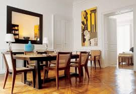 elegant scandinavian dining room design with long black dining