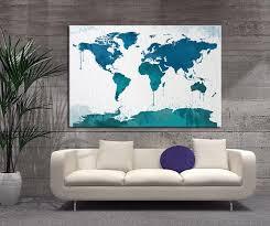Watercolor World Map Canvas Wall Art Blue World Map Wall Decor