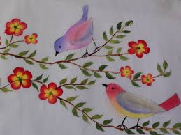 birds and flowers fabric painting tutorial 14 youtube