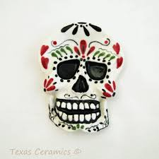 ceramic skeleton ring holder images Ceramic skull day of the dead tea bag holder small spoon rest png